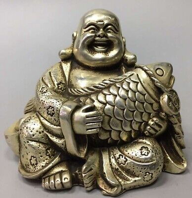 Tibet Collectable Miao Silver Carve Robe Smile Buddha Hug Fish Handwork Statue