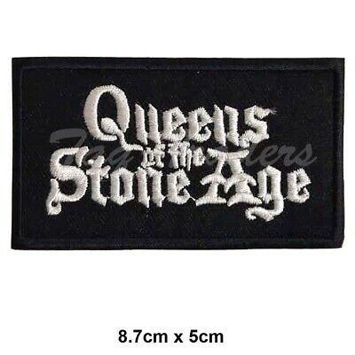 Queen Of The Stone Age White & Black Embroidered Patch Badge Sew/Iron-on