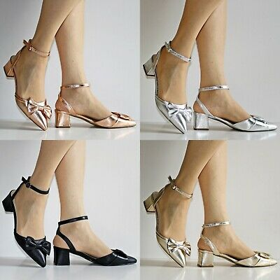 New Womens Ladies Party Pointed Toe Bow Low Block Heels Shoes Sandals Size 702-2