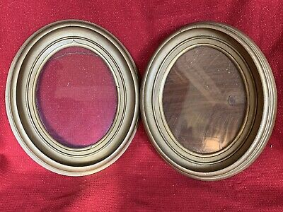 PAIR Matching Antique Victorian OVAL Gold Wood  Deep Well Picture Frame