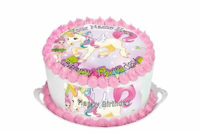 Unicorn Birthday Cake Topper; Rice Paper,Icing, Personalised decoration.76