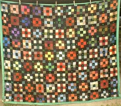 Antique Vintage 1930S Fabulous Folk-Art Hand-Tacked Wool 9-Patch Quilt Wow!