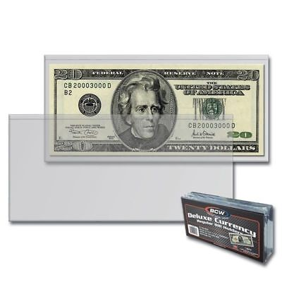 50 SEMI-RIGID Vinyl Money Protector Sleeve US Dollar Bill CURRENCY HOLDERS BCW