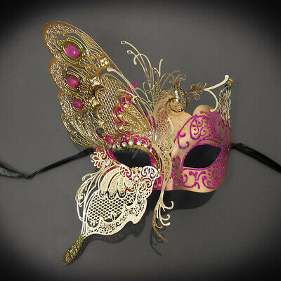 Half Butterfly Design Venetian Masquerade Mask for Women Gold Pink M7103