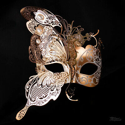 Half Butterfly Design Venetian Masquerade Mask for Women Gold White M7103