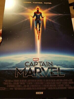 A4 CAPTAIN MARVEL Poster.Higher Further Faster, Official ODEON Cinema Movie Film