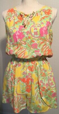 460446dd6d2 Lilly Pulitzer for Target Challis Romper Happy Place Yellow Orange Flowers  Sz XS