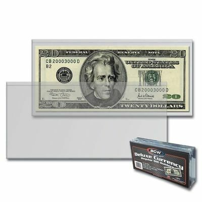 25 SEMI-RIGID Vinyl Money Protector Sleeve US Dollar Bill CURRENCY HOLDERS BCW