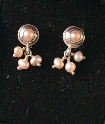 4bfe21907 New (Vintage) Dower and Hall Peach Pearl Sterling Silver Stud Drop Earrings