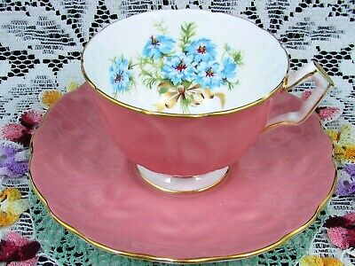 Aynsley Aqua Blue Floral Gold Gilt Bow Blush Pink Tea Cup And Saucer