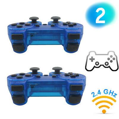 2X New Wireless 2.4GHz Twin Shock Game Controller For PS2 Clear Blue Joypad