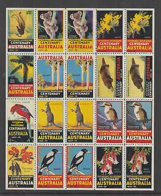 AUSTRALIA 1934 (-) Victoria Centenary -Cinderella-Sheet 20 perfect -MLH on 2
