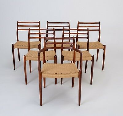 Six Danish Mid Century Modern Model 78 Rosewood Dining Chairs By N O Moller