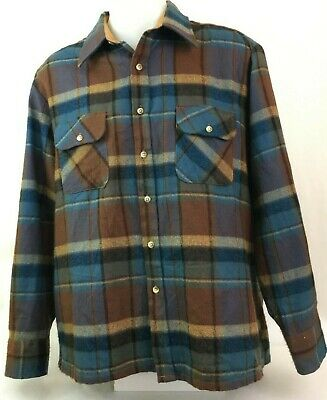Vintage Men's Long Sleeve Button Up Plaid Patterned Shirt Size XL