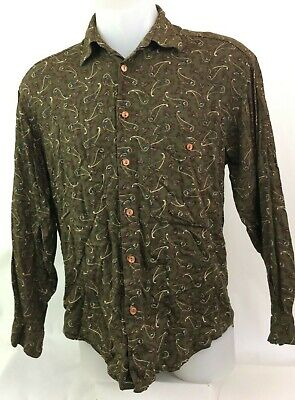 Vintage Men's Paisley Long Sleeve Button Up Shirt Size S