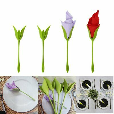 4Pcs Bloom Napkin Holders - Flowers Floral Green Design for Table Decoration PQ