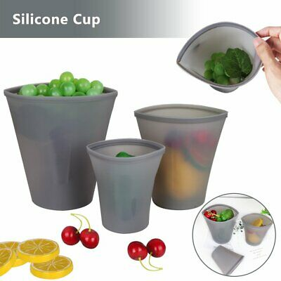 Reusable Silicone Seal Cup Food Storage Food Preservation Bags Container FO