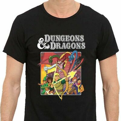 Dungeons Dragons Old School Cartoon Mens TSHIRT Black New Best Design