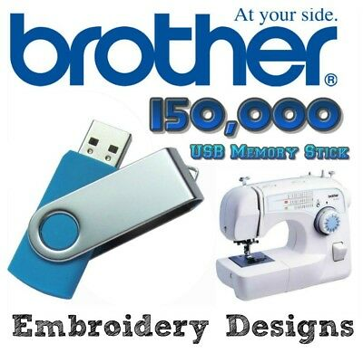 LARGEST ON ! +150,000 PES Brother Embroidery Machine Designs on USB drive