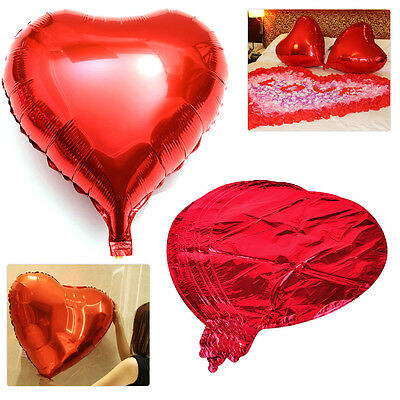 10x 18 Inch Red Love Heart Foil Helium Balloon Wedding Birthday Party Decoration