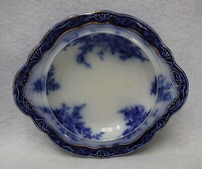 STANLEY POTTERY Flow Blue TOURAINE pattern BASE for the Round Butter Dish 8-1/8""