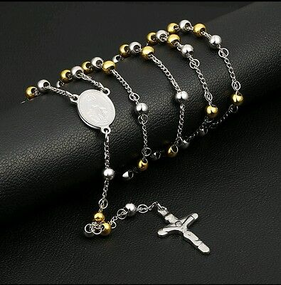 Silver&Gold 316L Stainless Steel Christian Pray Beads Cross Jesus Heavy Rosary