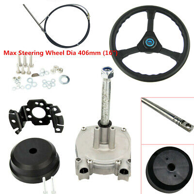 14FT Planetary Gear Outboard Boat Steering With Steering Cable Wheel 3/4'' Shaft