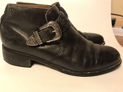 c129efeb415 Ariat Black Leather Silver Buckle Roper Ankle Boots Womens 39 EU 8 US  Booties