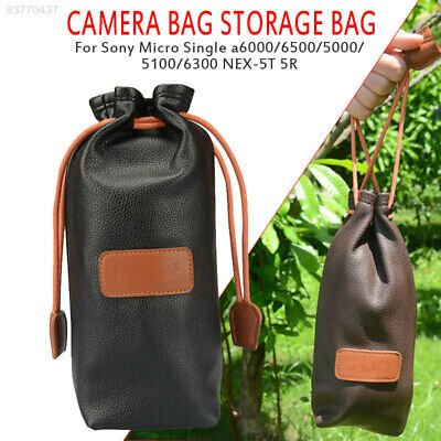8A38 Camera Bag Portable Drawstring Cowhide Scratch-Resistant Protective Travel