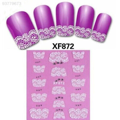 25F3 Hot New White 3D Water Transfer Lace Flower Nail Art Stickers Tips XF872*