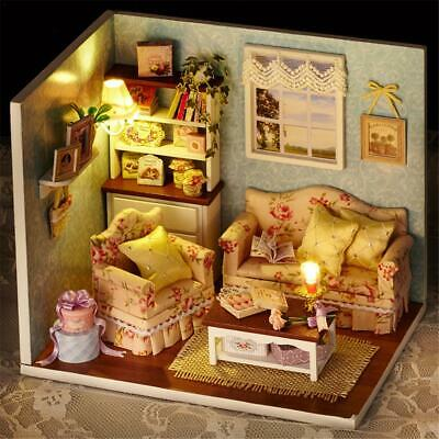 Wooden Dollhouse Miniatures Kits DIY LED Light Handicraft Toy Creative Xmas Gift