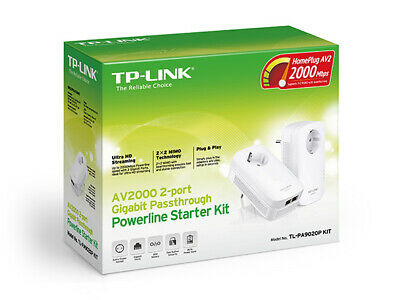 New  Tp-Link Tl-Pa9020p Kit Powerline Network Adapter Ethernet Lan White 2 Pc(S)