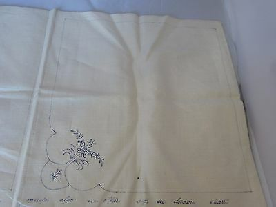 """Vtg PROGRESS Lot of 4 Uncut LINEN Napkins Printed for EMBROIDERY 12"""" Crafting"""