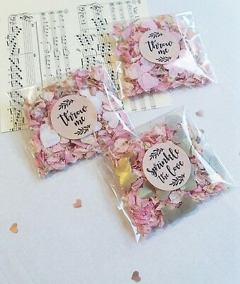 Heart & Natural Petal - Wedding Confetti Throw me - gold, pink, white, rose gold