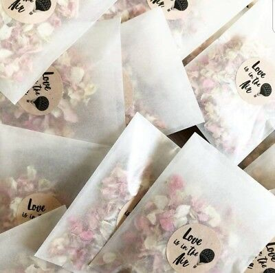 CONFETTI PACK : Glassine Bags + Stickers Pink Rose Petal and Ivory Biodegradable