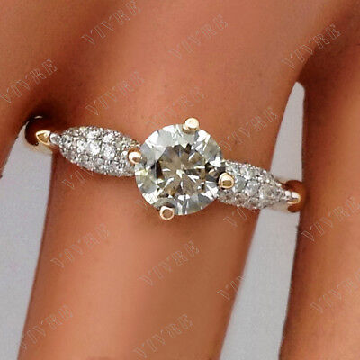1.20 ct Round Cut Diamond Engagement Ring In 14K Yellow Real Gold For Women's