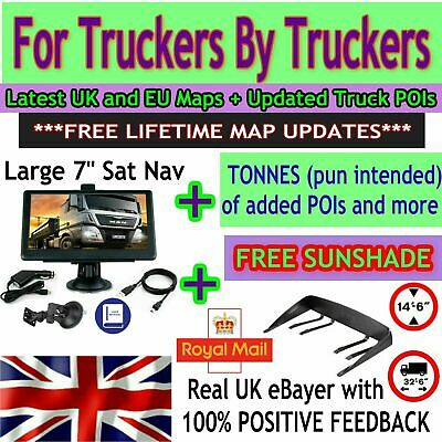 "7"" TRUCK SAT NAV Traffic GPS + latest UK EU Maps POI Updates HGV Lorry Caravan"