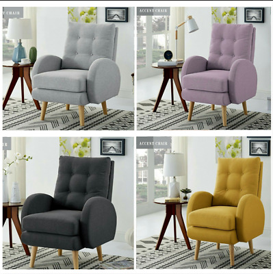Tall Wingback Arm Accent Chair Club Seat Single Sofa Upholstered Living Room