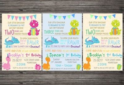 Dinosaur Themed Personalised Birthday Party Invitation Digital Or Printed