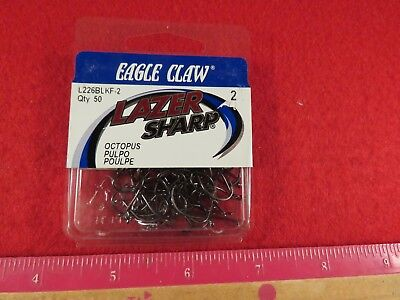 EAGLE CLAW LAZER SHARP Size 8 Needlepoint Octopus Long Shank RED Hook Qty 68