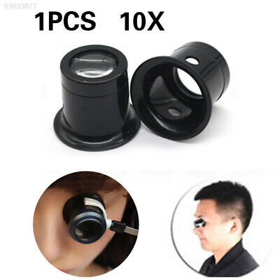 2B17 Practical Magnifying Lens Jewellery Magnifier Glass Mirror ABS Black 10x