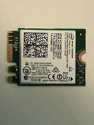 Intel Dual Band Wireless-AC 7265NGW Wifi BT4.2