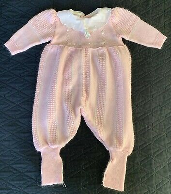 Vintage Nann-knits By Nanette Acrylic Knit  Sweater Romper 12 months Baby Pink