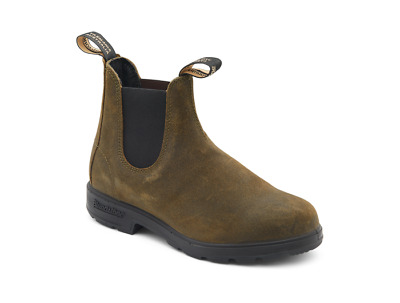 Blundstone 1615 Pull On Boots in Waxed Olive Suede