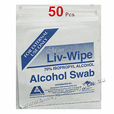 Alcohol Swab Wipe Skin Cleansing  70% Isopropyl LIV-WIPE 50 Pc