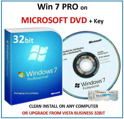Win 7 Professional 32bit on GENUINE MICROSOFT DVD + Key Licence - Use on Any PC