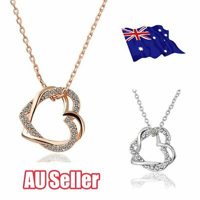 18K Rose Gold Filled Women's Heart Pendant Necklace With Crystal FO