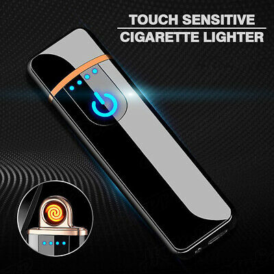 Novelty Windproof Electric Lighter Touch Sensitive USB Rechargeable Flameless