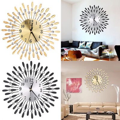 Modern Big Clear Diamante Beaded Jeweled Black Sunflower Metal Spiked Wall Clock