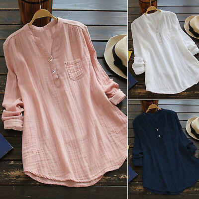 Womens V Neck Baggy Loose Cotton Tops T Shirt Plus Size Long Sleeve Tunic Blouse